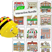 Bundle 6 Bee-Bot Floor Robots and 6 3D Community Construction Kits