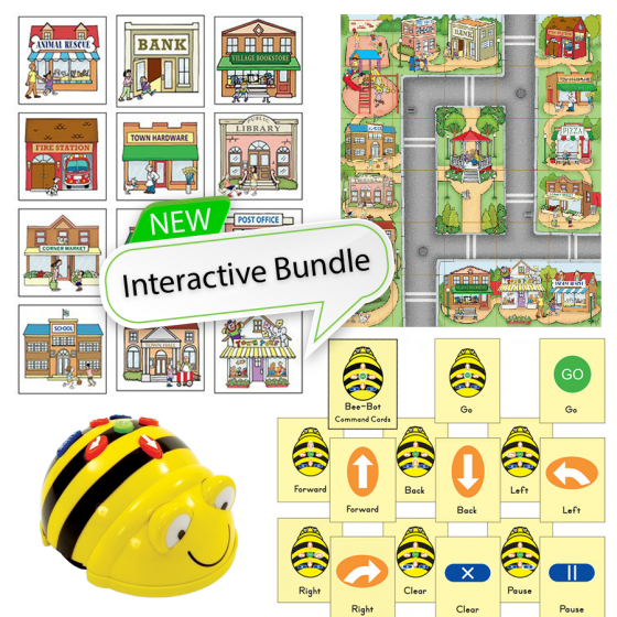 Bundle Bee-Bot and 3D Community Construction Kit, Community Mat and Command cards